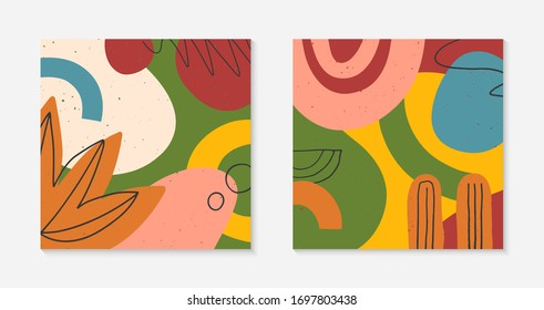 Set of modern vector collages with hand drawn organic shapes,textures and graphic elements.Trendy contemporary design perfect for prints,social media,banners,invitations,branding design,covers