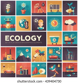 Set of modern vector ecology, environment protection flat design icons in squares. Energy saving, pollution, recycling, heavy industry, climate crisis, ecosystem, environmentally friendly technology