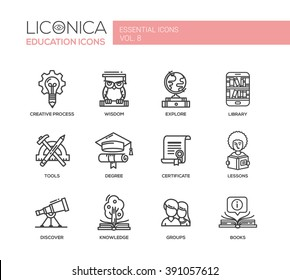 Set of modern vector education simple thin line flat design icons and pictograms. Collection of infographics objects, web elements. Creative process, wisdom, knowledge, group, lessons, books