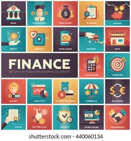 Set of modern vector finance, business flat design icons in squares: analytics, businessman, make money, profit, bank, payment, savings. targeting, deposit, security planning, partnership, stock