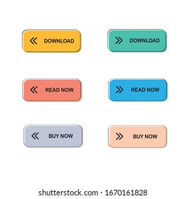 set of modern vector flat buttons   for web business design, minimal style with shaped muted color interface