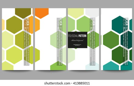 Set of modern vector flyers. Abstract colorful business background, modern stylish hexagonal vector texture