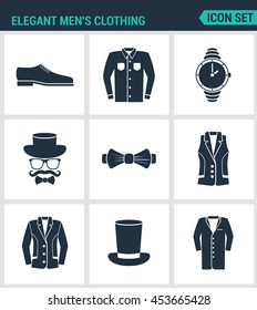 Set of modern vector icons. Elegant men's clothing shoes, shirt, hat watches, glasses, butterfly, vest, jacket, hat, cone coat. Black signs on white background. Design isolated symbols silhouettes.