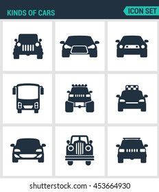 Set of modern vector icons. Kinds of cars SUV, car, bus, muskulkar, b?gfut taxi biznes avtomobil retrocars. Black signs on a white background. Design isolated symbols and silhouettes.