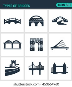Set of modern vector icons. Types of bridges architecture, construction. Black signs on a white background. Design isolated symbols and silhouettes.