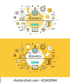 Set of modern vector illustration concepts of market research. Line flat design hero banners for websites and apps with call to action button, ready to use