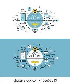 Set of modern vector illustration concepts of business process outsourcing. Line flat design hero banners for websites and apps with call to action button, ready to use