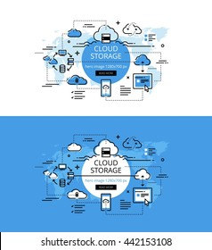 Set of modern vector illustration concepts of cloud storage. Line flat design hero banners for websites and apps with call to action button, ready to use