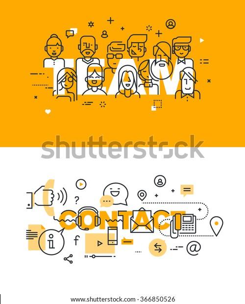 Ensemble d'illustrations vectorielles modernes concepts de mots équipe et contact. Des bannières de design plat en ligne pour le site web et le site web mobile, faciles à utiliser et hautement personnalisables.