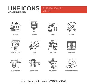 Set of modern vector line design icons and pictograms of home repair process and tools. Brush, drill, saw, paint roller, ladder, window, door lock, electricity, plumbing, color matching
