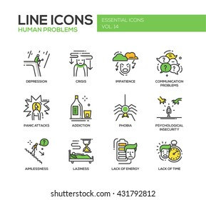 Set of modern vector line design icons and pictograms of common human psychological problems. Crisis, impatience, depression, panic attacks, insecurity, phobia, addictions, aimlessness, laziness