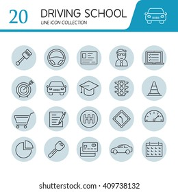 Set of modern vector line flat design icons of driving school, auto control, road, transportation.
