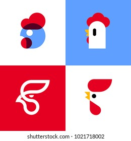 Set of modern vector logo templates or icons of chicken heads