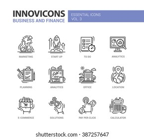 Set of modern vector office thin line flat design icons and pictograms. Marketing, start up, to do list, planning, analytics, e-commerce, solutions, pay per click, location, calculator,