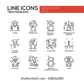 Set of modern vector plain line design icons and pictograms of teenager problems. Anger, depression, personal identity, problems with parents, insecurity, loneliness, illusions, bad habits, fear