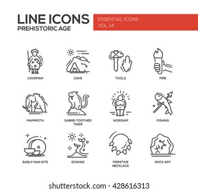 Set of modern vector plain line design icons and pictograms of prehistoric age life. Caveman, cave, tools, fire, mammoth, sabre-toothed tiger, worship, fishing, early man site, sowing, rock art