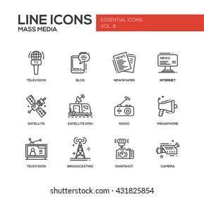 Set of modern vector plain line design mass media icons and pictograms. Tv, newspaper, blog, internet, radio satellite, megaphone, broadcasting, camera, snapshot