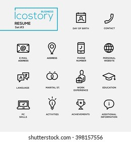 set of modern vector plain simple thin line design icons and pictograms for your resume