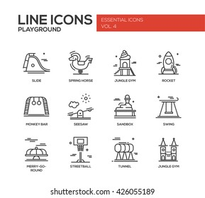 Set of modern vector simple line design icons and pictograms of children playground. Slide, spring horse, jungle gym, rocket, monkey bar, seesaw, sandbox, swing, merry-go-round, streetball, tunnel