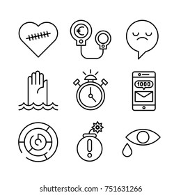 Set of modern vector simple line design icons of human psychological problems. Depression, stress, sadness, anxiety, pain, business, despair