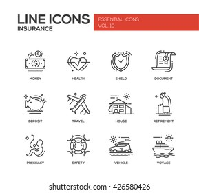 Set of modern vector simple plain line design icons and pictograms of types and kinds of insurance. Health, money, document, shield, deposit, travel, house, retirement, pregnancy, safety, voyage