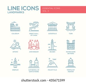 Set of modern vector simple plain line design icons and pictograms of world famous landmarks. Coliseum, Sphinx, Torii, Great Wall, Santa Marie Cathedral, Big Ben, Notre Dame, Fuji, Amsterdam