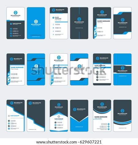 set of modern vertical business card print templates blue and black colors vector illustration