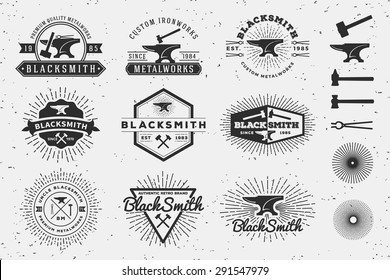 Set of Modern Vintage Blacksmith and Metalworks insignia logotype Template Design with anvil, hammer, star burst. Vector illustration