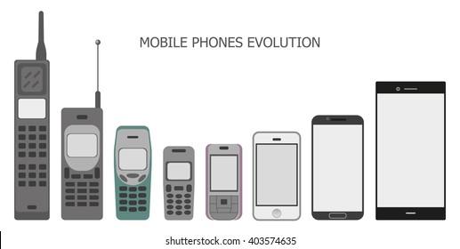 Set modern and vintage mobile gadgets. Mobile phone evolution. Vector illustration.