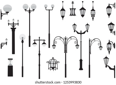 Set of modern and vintage street lights. Silhouette of wall and floor street lamp, black and gray color, isolated on white background