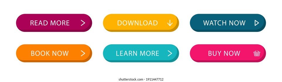Set of modern web buttons. Colored action buttons for web site and interface. Vector illustration.