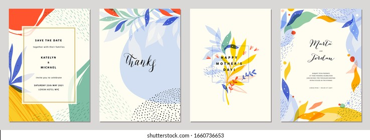 Set of modern wedding templates. Good for birthday, bridal and baby shower. Vector illustration.