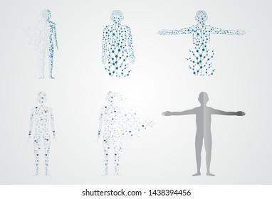 set molecule body concept of the human DNA vector chemistry science illustratio