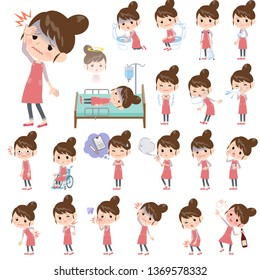 A set of mom with injury and illness.There are actions that express dependence and death.It's vector art so it's easy to edit.