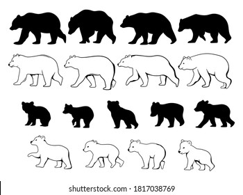 Set of moms and baby bears. Collection of silhouette mother with cute animals bears. Black and white illustration for the zoo. Tattoos.