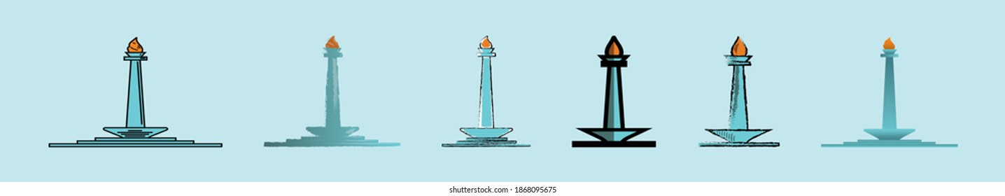 set of monas or jakarta indonesia monuments cartoon icon design template with various models. modern vector illustration isolated on background