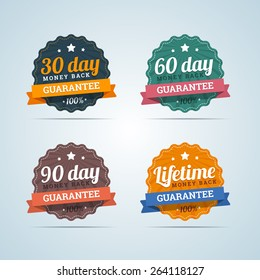 Set of money back badges in flat style. 30, 60, 90 days and Lifetime guarantee. Vector illustration.
