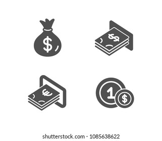 Set of Money bag, Cash and Atm money icons. Usd coins sign. Usd currency, Atm payment, Dollar currency. Cash payment.  Quality design elements. Classic style. Vector