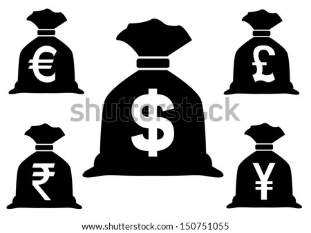 Set Money Bags Currency Symbols Stock Vector Royalty Free