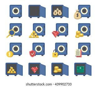 A set of money/ bank safes icons.