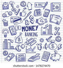 Set of money and banking related objects and elements. Hand drawn vector doodle illustration collection in blue ballpoint sketch style..