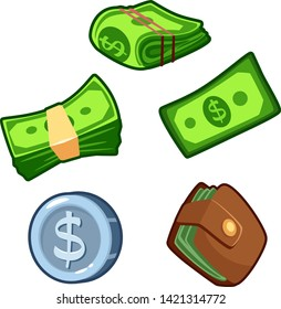Set of money carton vector isolated icons, bundle, wallet, coin, banknote