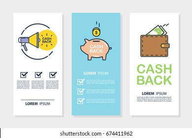 Set of money cash back flyers for business, promotion and advertising. Flat design vector illustration.