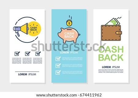 set money cash back flyers business のベクター画像素材
