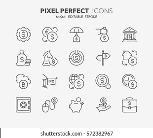 Set of money and financial thin line icons. Contains icons as e-banking, initial public offering, investment portfolio, real estate investment and more. Editable stroke. 64x64 Pixel Perfect.