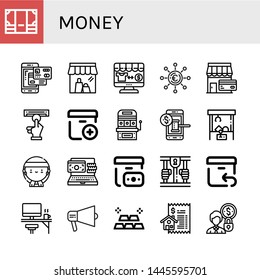 Set of money icons such as Money, Smartphone payment, Shop, Online shop, Euro, Atm, Add package, Slot machine, Auction, Claw machine, Gangsta, Online payment, Cash on delivery , money