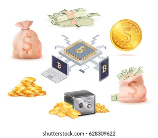 Set of money and online cash connected with laptop and mobile phone vector banking concept Bags with dollars and gold saved in storage