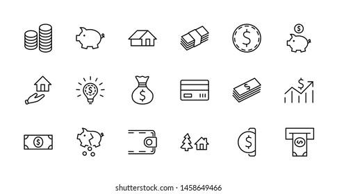 Ensemble d'icônes Vectorielles Liées À L'Argent. Contient des Icônes telles que Money Bag, Piggy Bank sous forme de Cochon, Wallet, ATM, Pack de Monétaire, Main avec une Pièce et plus encore. Contour modifiable. 32 x 32 Pixels Parfaits