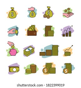 Set of Money Related Vector Line Icons on muticolor. Contains such Icons as Inspiration, Idea, Brain, business and more for website design, mobile app, logo.