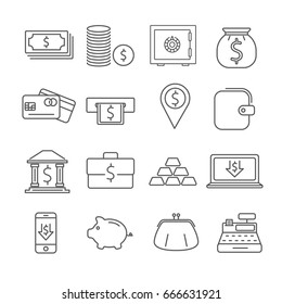 Set of money Related Vector Line Icons. Contains such icon as coins, currency, dollars, ATM, piggy Bank, wallet, credit card, electronic payment, gold bars, cash machine